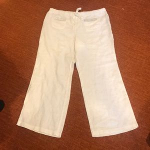 White Linen Wide Leg Pants XL